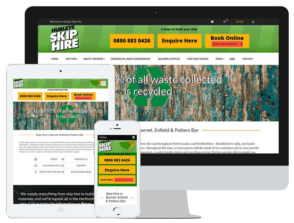 Hurleys Skip Hire PPC SEO Website Click Return Barnet Online Marketing Agency
