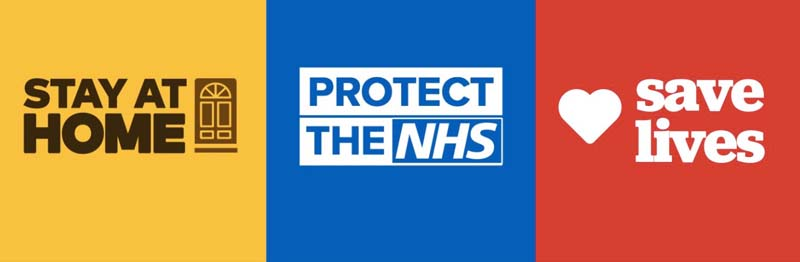 Stay at home Protect NHS Save lives Click Return