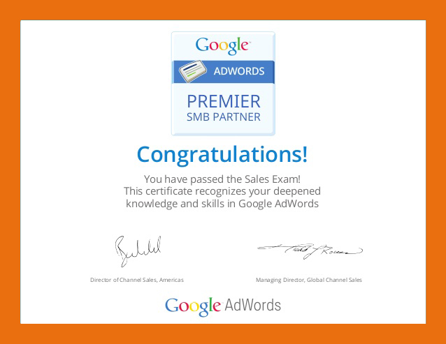 Google Partner Certificate AdWords Search Bradley Bishop to Oct 2017