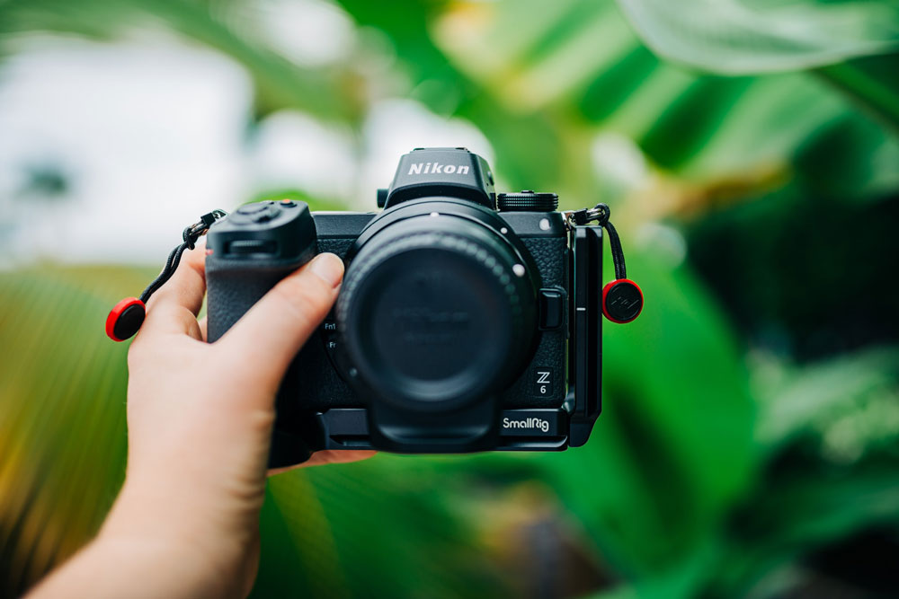 Holding a professional photography camera